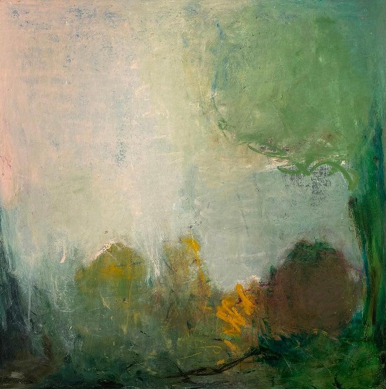 Oil & cold wax painting, Sandrine Kern, Spring - Mixed Media Art by Sandrine Kern