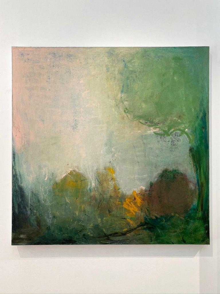 Oil & cold wax painting, Sandrine Kern, Spring - Abstract Mixed Media Art by Sandrine Kern