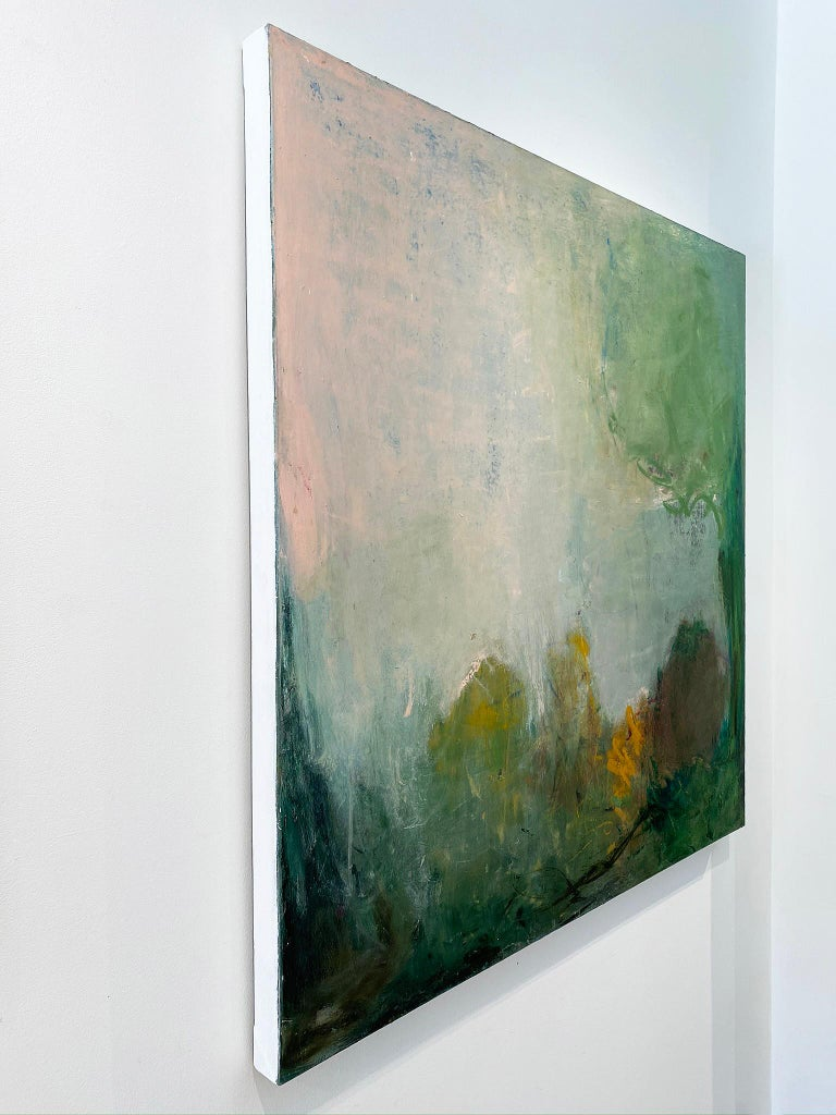 'Spring' in 2020 by New York City base, French artist Sandrine Kern. Oil and cold wax on canvas, 48 x 48 in. This abstracted landscape painting features a woodland scene in colors of pink, green, blue, orange, brown, and black.  Sandrine Kern's work
