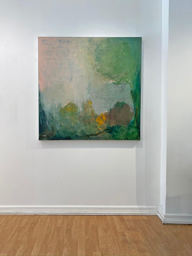Oil & cold wax painting, Sandrine Kern, Spring For Sale 1