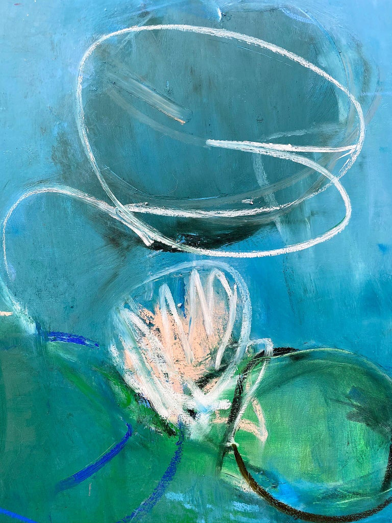 Oil & cold wax painting, Sandrine Kern, Lilies For Sale 2