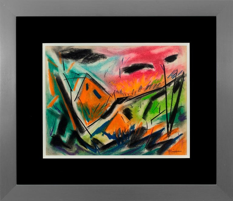 """Joseph Meierhans Abstract Drawing - """"House on the Hill"""""""