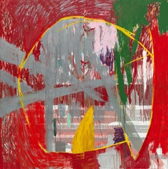 Red Rain - abstract expressionistic diptych mixed media oil painting