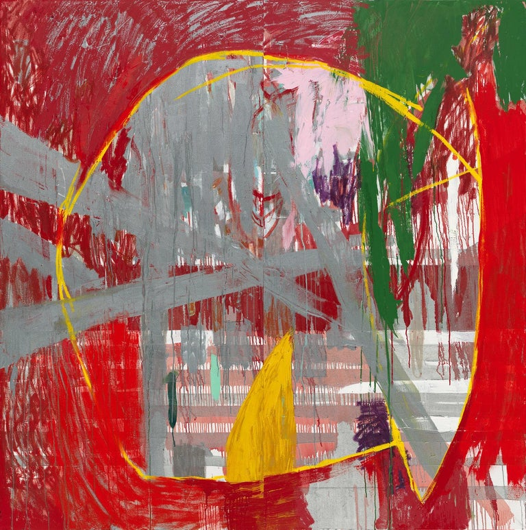 Javier Arizmendi-Kalb Abstract Painting - Red Rain - abstract expressionistic diptych mixed media oil painting