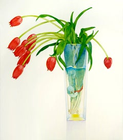 Red Tulips in a Tall Vase / watercolor