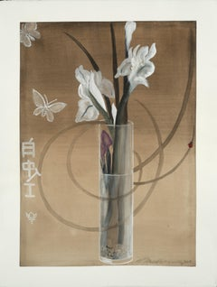 White Irises / botanical watercolor