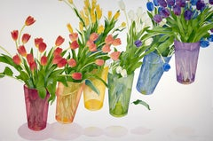 Rainbow Tulips / large watercolor - 40 x 60 inches