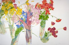 Interrupted Still Life / colorful floral large contemporary watercolor flowers