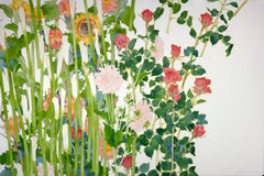 Spring Composition / contemporary floral large watercolor still life framed