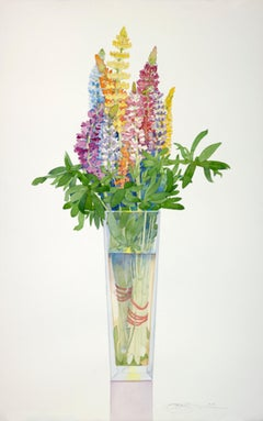 Lupine in a Tall Vase / brilliant floral watercolor in multicolor - serene