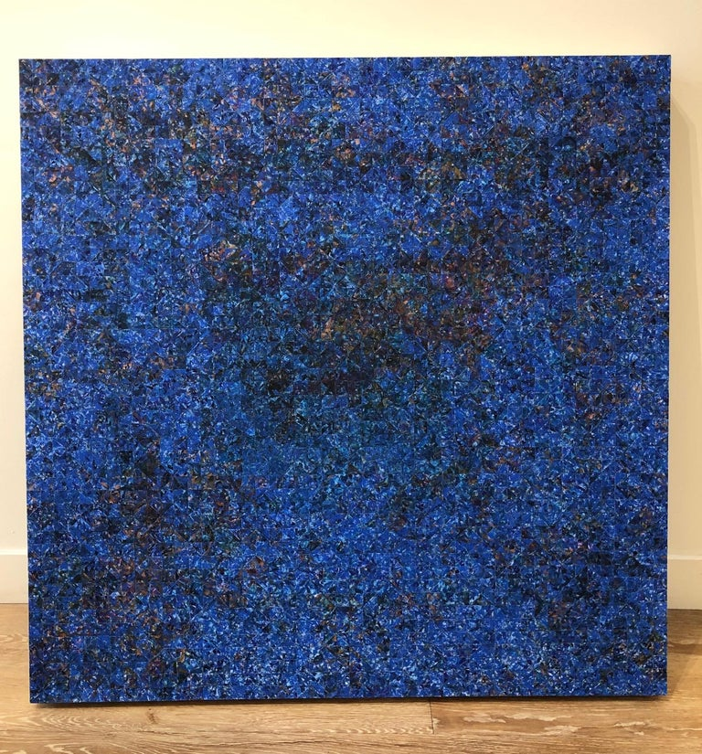 Nocturne at One / Blue contemporary geometric mosaic painting on wood panel - Art by Irene Zweig