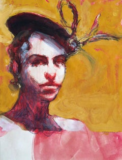Talia in Fruitvale / woman with hat -  red & gold - drawing painting
