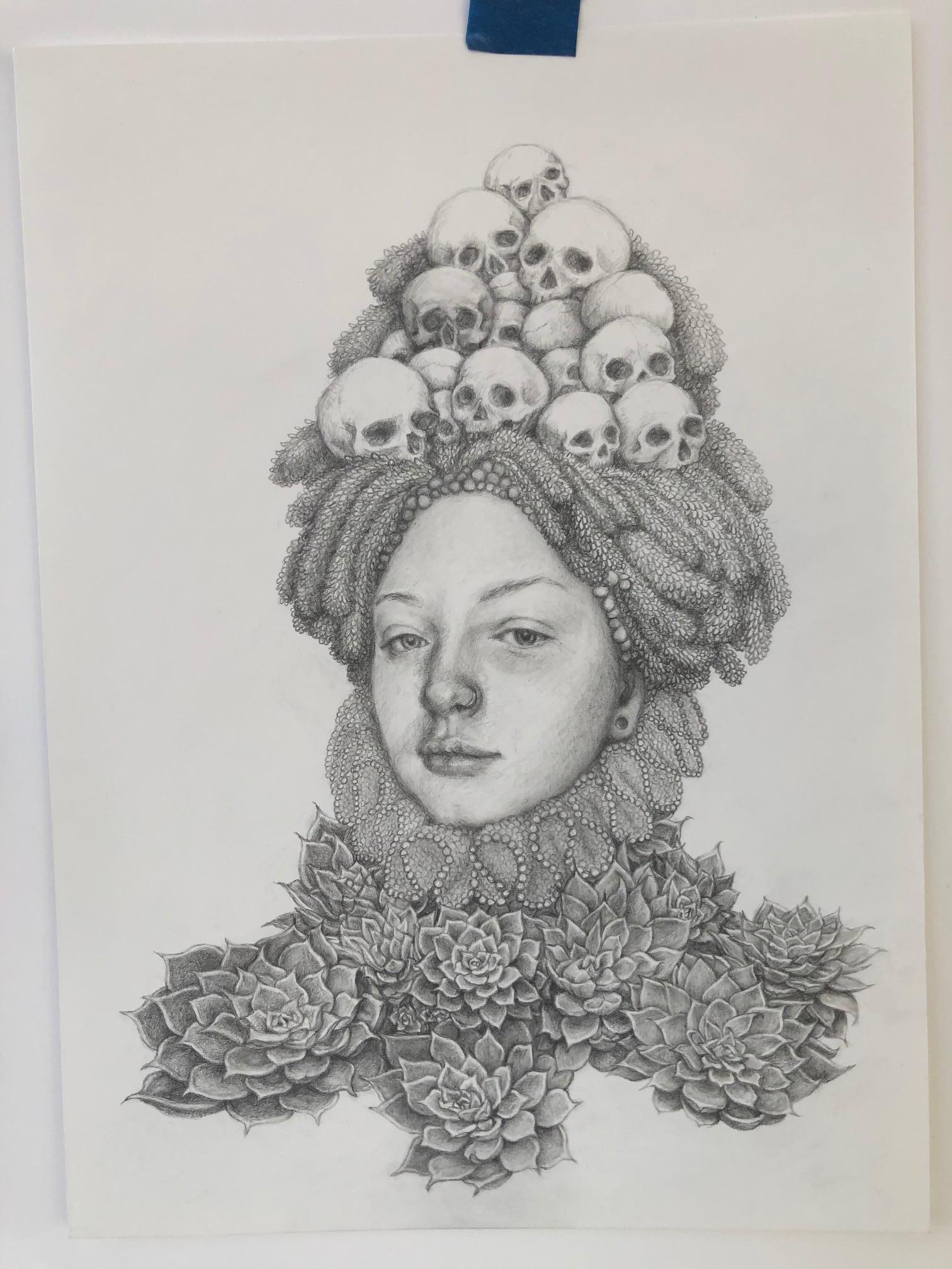 Chikako Okada Infanta Suculentas Graphite Pencil Drawing Woman With Skulls And Succulents For Sale At 1stdibs