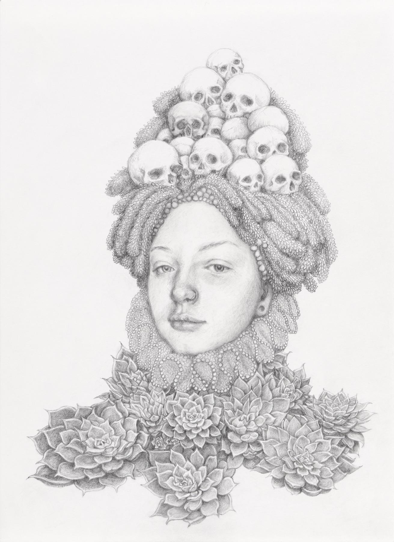 Infanta Suculentas,- graphite pencil drawing - woman with skulls & succulents