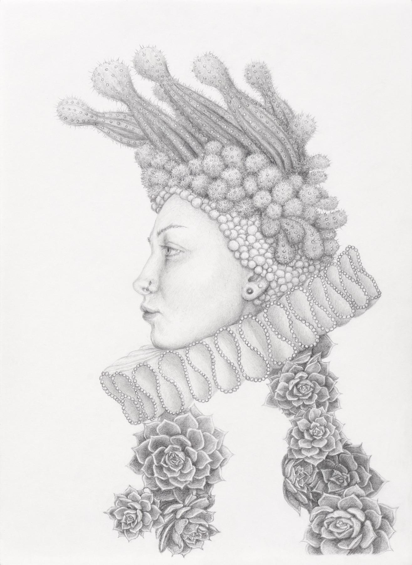 Infanta Futura- graphite pencil drawing - woman with cactus and succulents