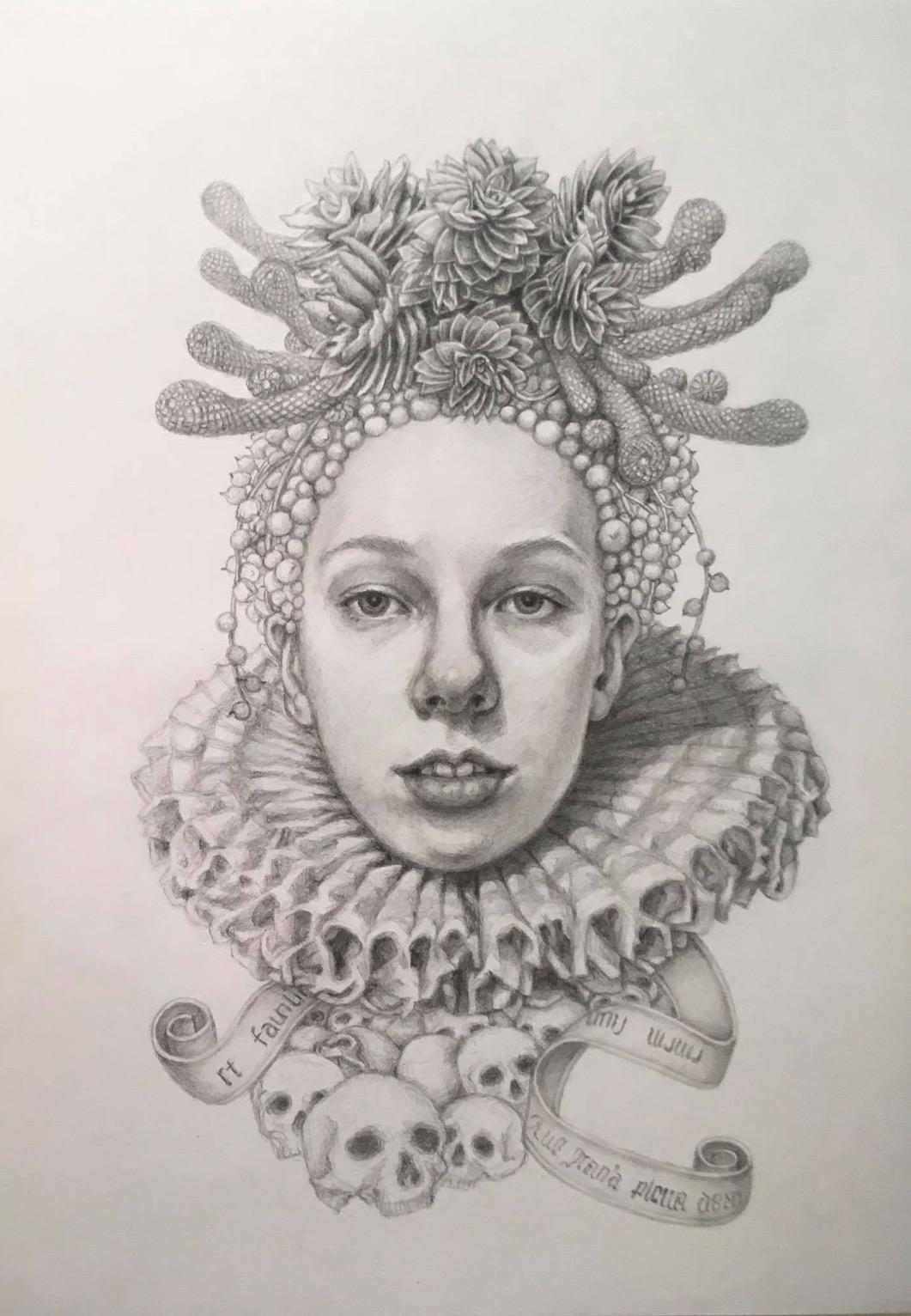 Chikako Okada Infanta Soledad Graphite Pencil Drawing Woman With Skulls And Succulents For Sale At 1stdibs