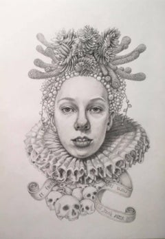 Infanta Soledad- graphite pencil drawing - woman with skulls & succulents