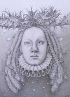 Infanta Nocturna - pencil drawing - woman with cactus & victorian collar