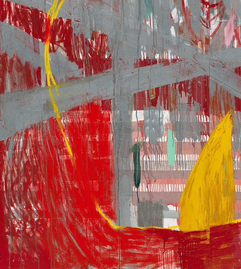 Red Rain - abstract expressionistic diptych mixed media oil painting  For Sale 2