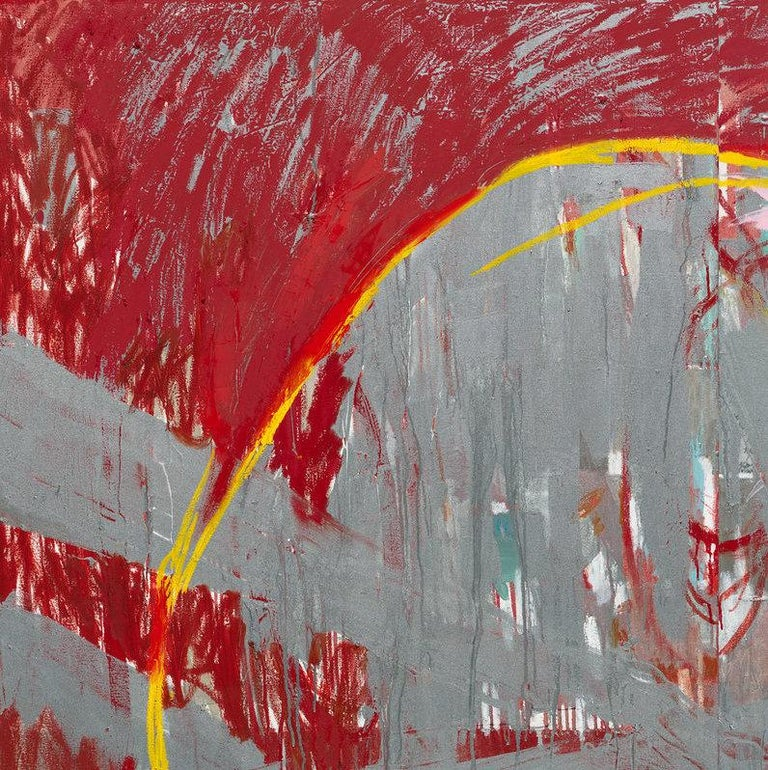 Red Rain - abstract expressionistic diptych mixed media oil painting  For Sale 3