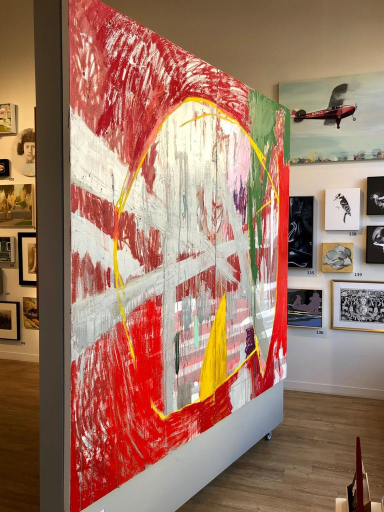 Red Rain - abstract expressionistic diptych mixed media oil painting  For Sale 4