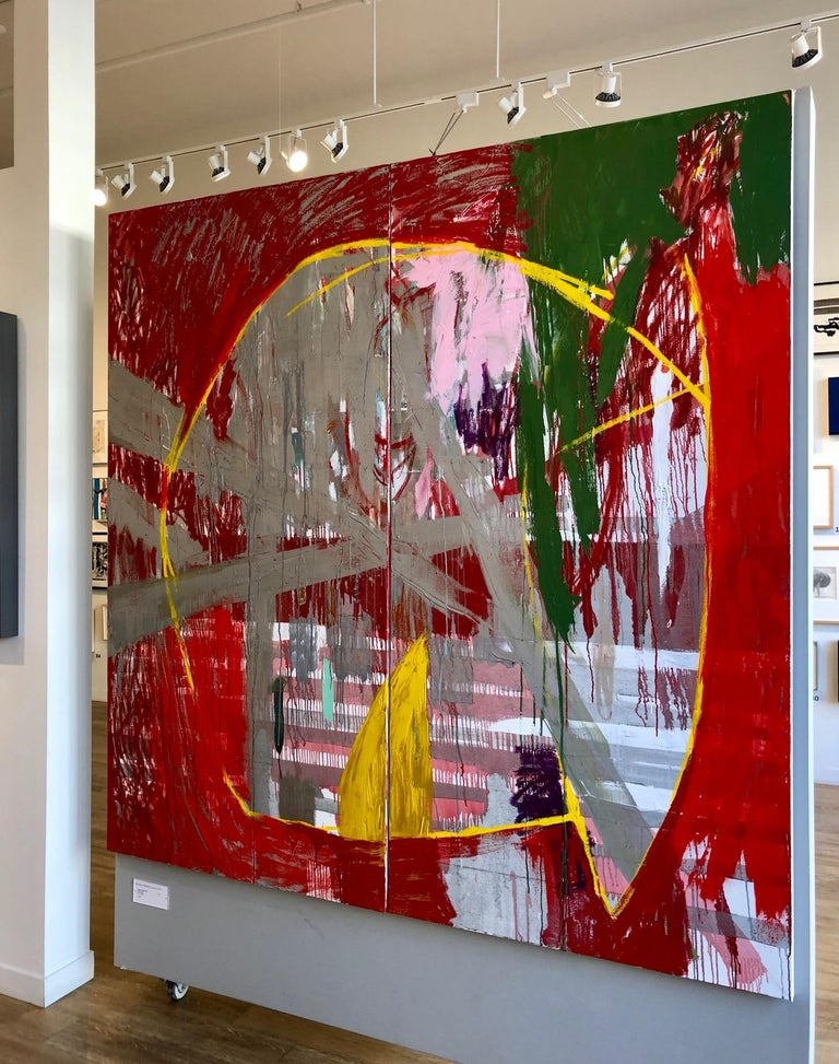 Red Rain - abstract expressionistic diptych mixed media oil painting  - Painting by Javier Arizmendi-Kalb