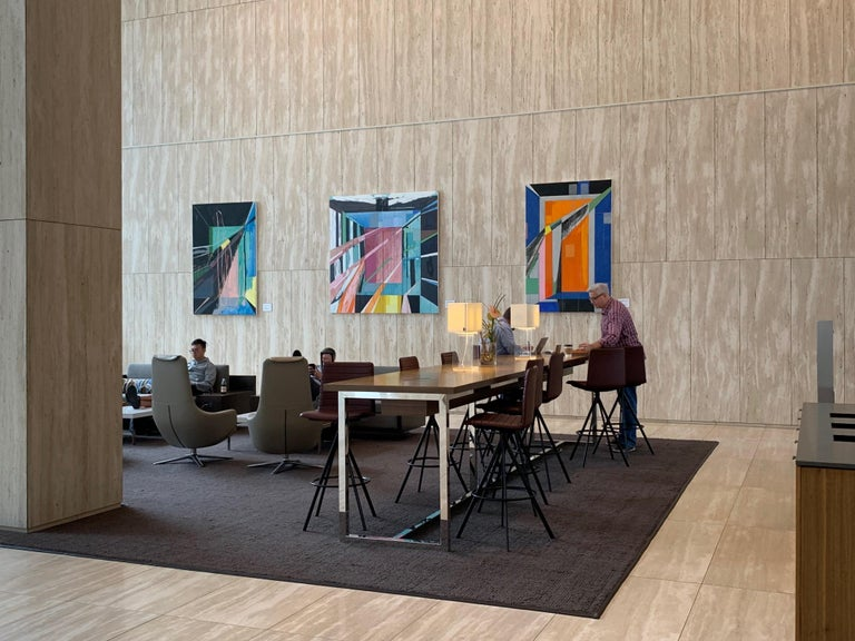 Chapel No. 1 / abstract geometry, architecture, light - 6x4 feet - Abstract Geometric Painting by Javier Arizmendi-Kalb