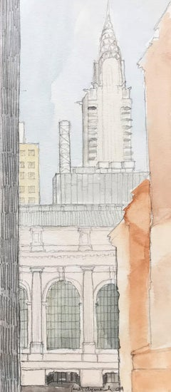 Grand Central and Chrysler Building, New York - matted in archival sleeve