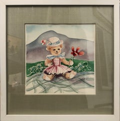 The Sweetest Bear - watercolor, signed Radford. Framed in silk and white wood