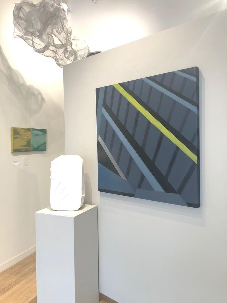 Architectural Underpinnings are the focus on this abstract oil on canvas painting by artist Anne Subercaseaux, whose gleaming oil paintings realistically bridge urban with rural in the form of representational fragmented depictions of contemporary