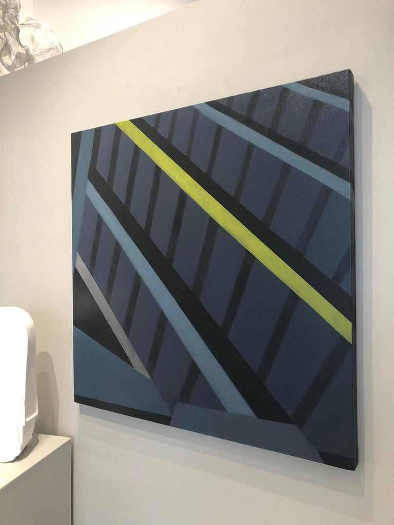 Underpinnings / midnight ink  blue, architecture, minimalism, geometry - Painting by Anne Subercaseaux