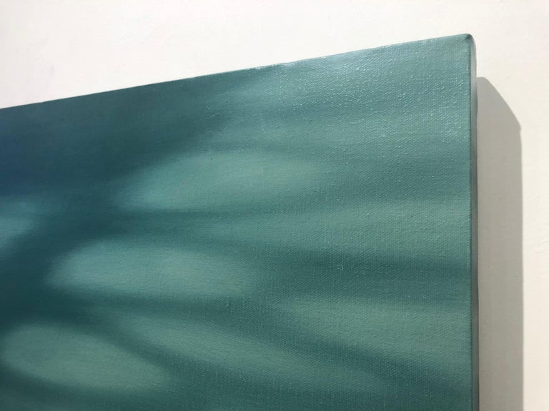 Anne Subercaseaux's resplendent paintings offer calm in an otherwise hurried world. In 'Soreze Steps', shades of green-blue are at play in the 18 x 24 inch oil on canvas.   Anne Subercaseaux finds substance in the insubstantial, in paintings that
