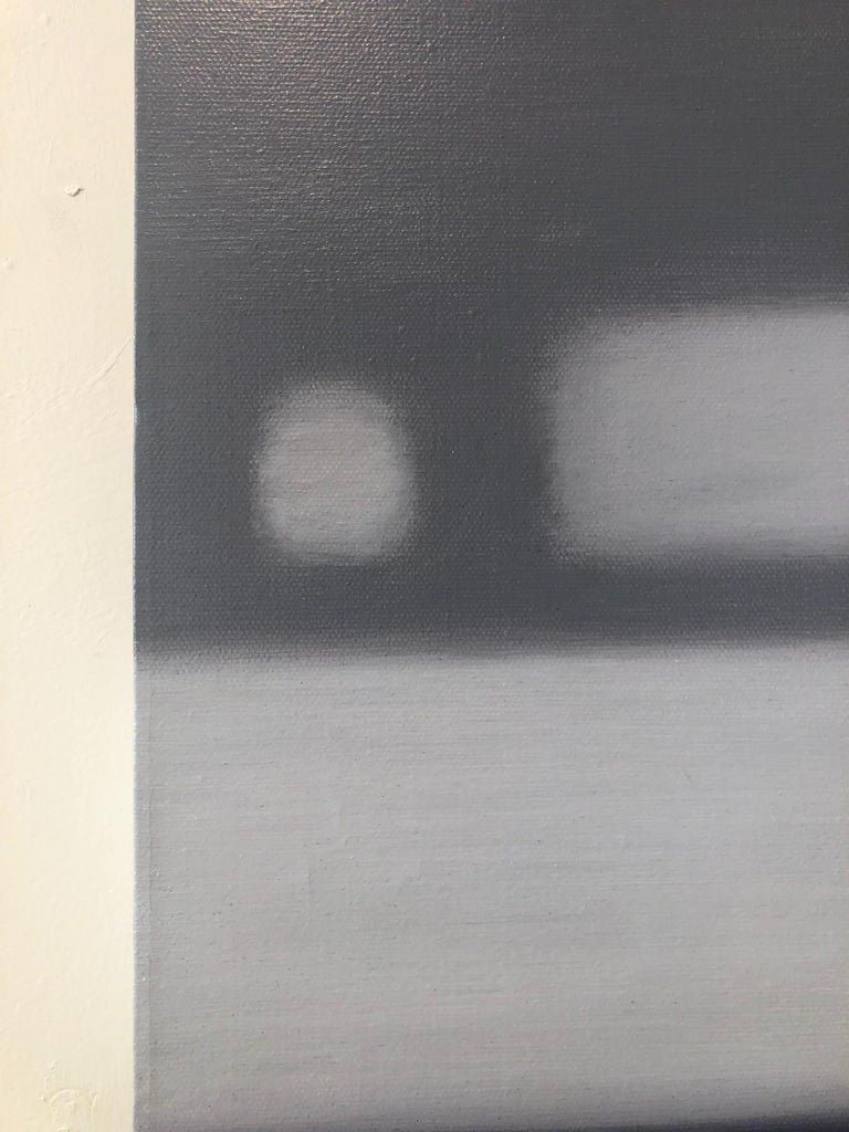 Winter Lights / abstract realism, minimalism, calm monochrome - Contemporary Painting by Anne Subercaseaux