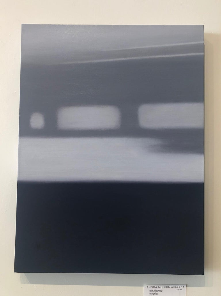 Winter Lights / abstract realism, minimalism, calm monochrome - Painting by Anne Subercaseaux