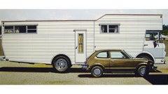 Mobile Home with Honda - original watercolor, 1974