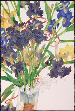 Iris Hense Away / original large contemporary watercolor flowers in color