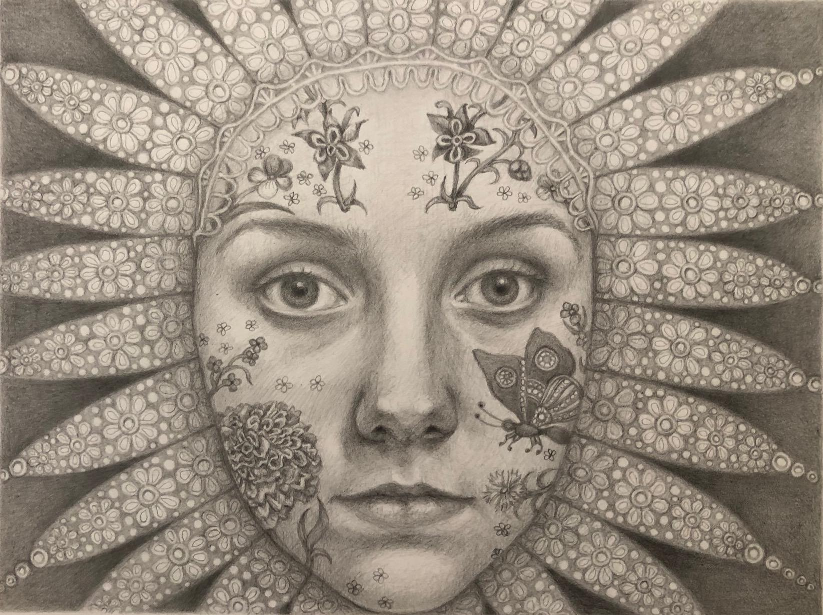 PARADISE SEEKER - pencil drawing - from Okada's 'Neo Flower Children' series