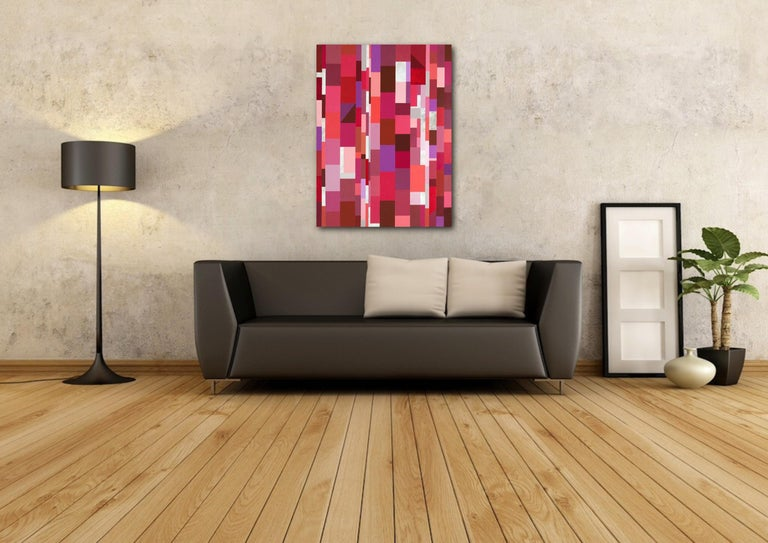 Synergy - celebrating reds - Pink Abstract Painting by Jill  Keller Peters