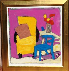 Yellow Armchair Blue Pink Contemporary Still Life