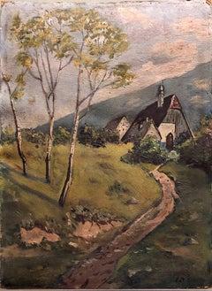 Ecole De Paris Landscape Village Farmhouse Oil Painting