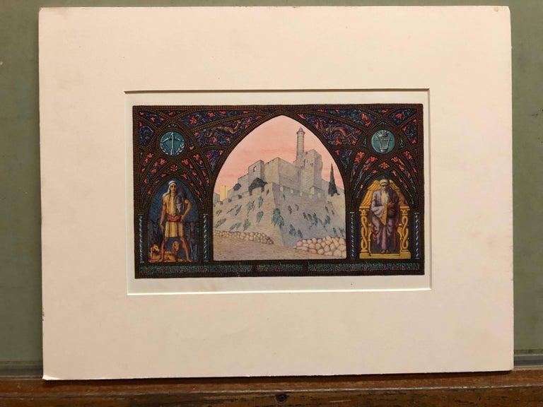 Rare Judaica Jerusalem Bezalel Zeev Raban Chromolithograph (made in Palestine) - Art Nouveau Art by Zeev Raban