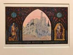 Rare Judaica Jerusalem Bezalel Zeev Raban Chromolithograph (made in Palestine)