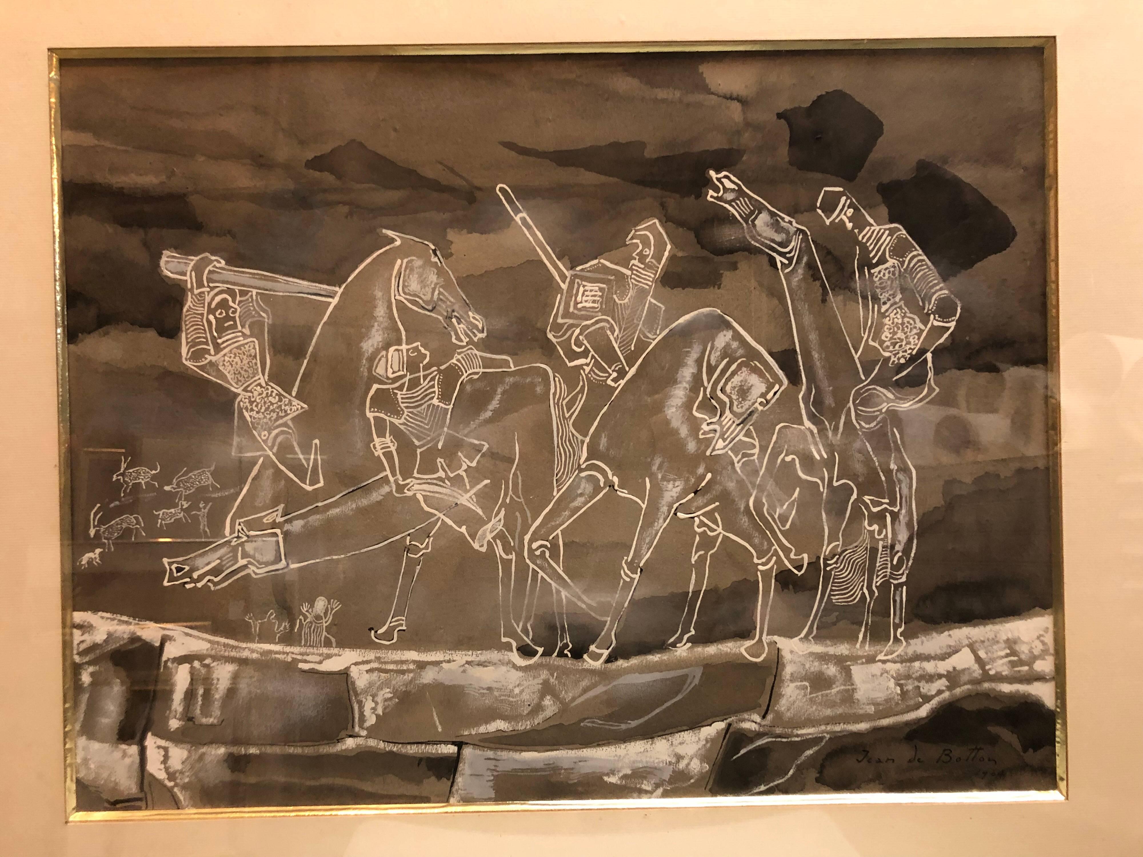 Large French Art Deco Four Horsemen of Apocalypse Watercolor Gouache Painting