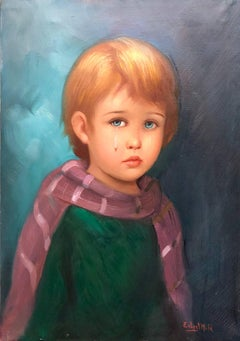 1970s Big Eyed Waif Sad Child with Scarf Oil Painting