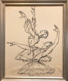 California Modernist Ballet Dancers Ink Drawing