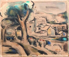 Landscape Watercolor Painting, Paris France, Jewish Yemenite Israeli Artist