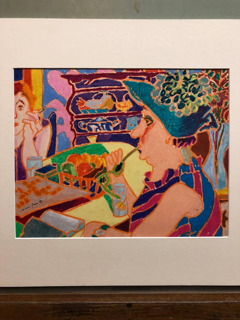 Vibrant Colorful Drawing in Oil Pastel Women in Cafe - Art by Mimi Gross