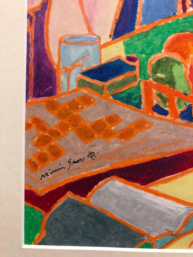 Vibrant Colorful Drawing in Oil Pastel Women in Cafe - Orange Figurative Art by Mimi Gross
