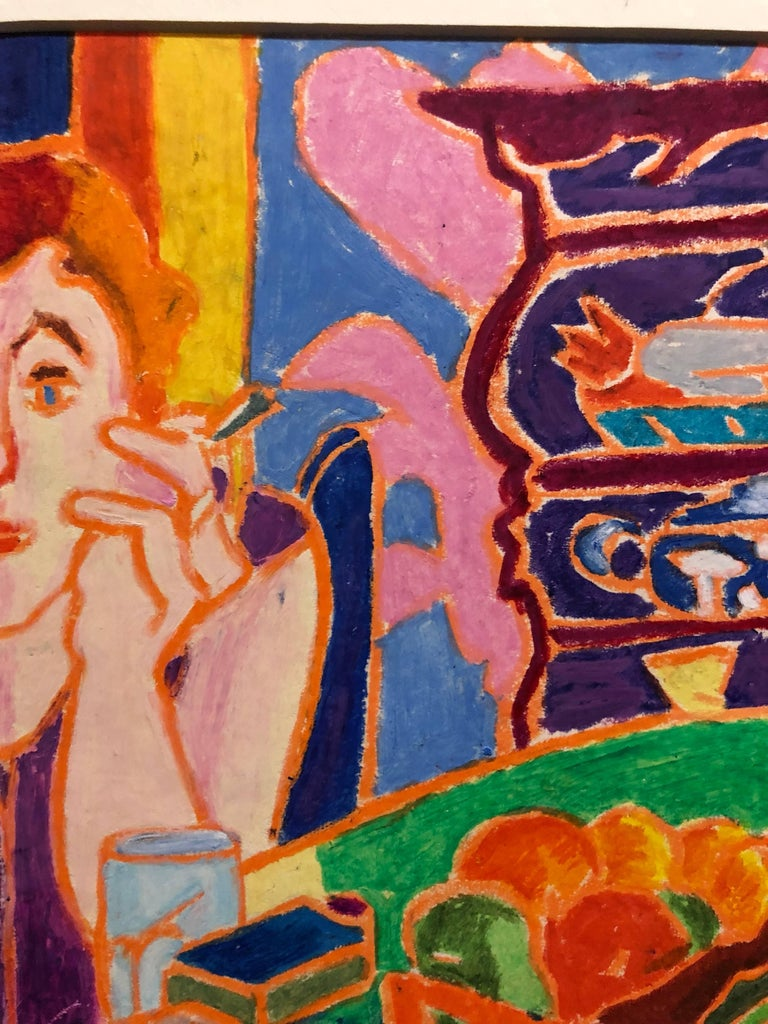 Vibrant Colorful Drawing in Oil Pastel Women in Cafe For Sale 1