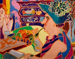 Vibrant Colorful Drawing in Oil Pastel Women in Cafe